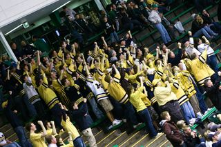 Michigan fans out-cheer Spartan fans at last night's game.